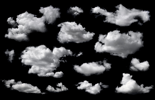Clouds set isolated on black background.