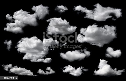 istock Clouds set isolated on black background. 1189376812