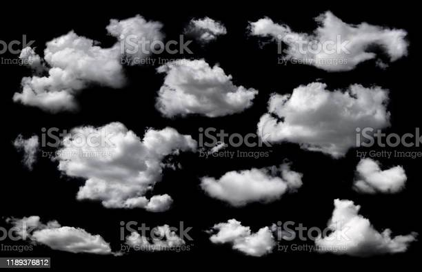 Photo of Clouds set isolated on black background.