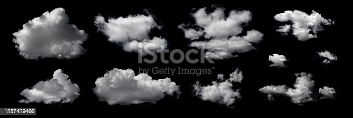 Clouds set isolated on black background. White cloudiness, mist or smog background. Design elements on the topic of the weather. White cloud collection.