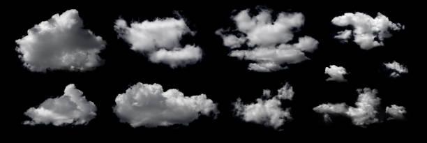 구름은 검은 색 배경에 격리되어 있습니다. - 구름 뉴스 사진 이미지