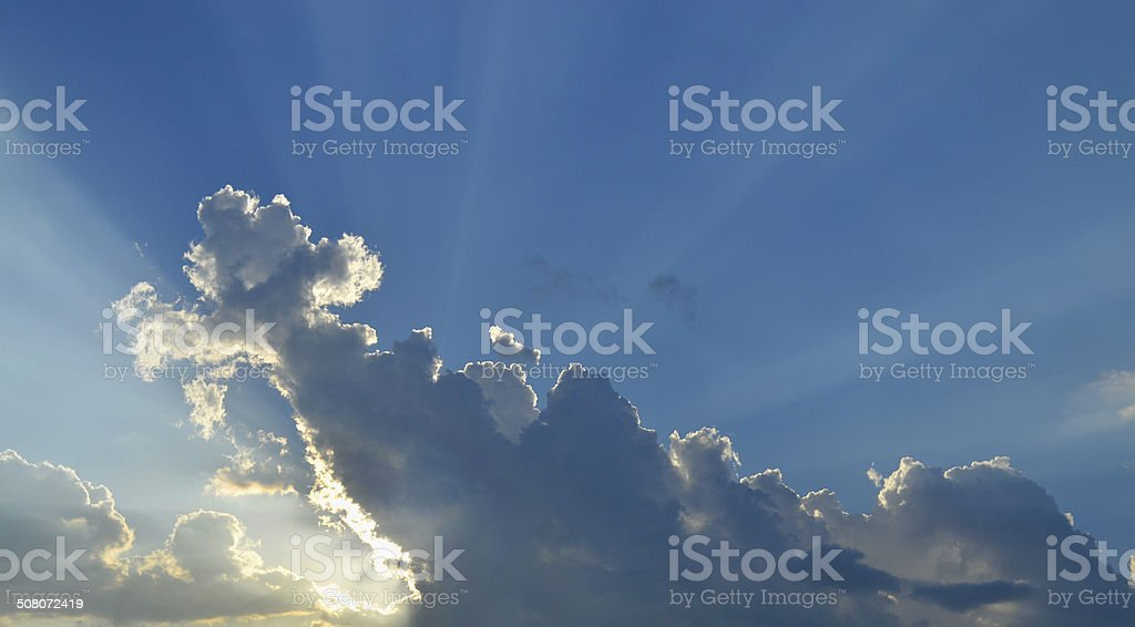 Clouds Sun Rays stock photo
