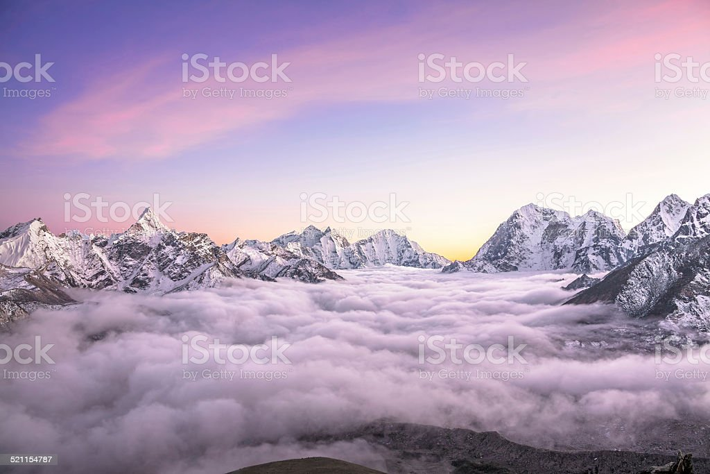 Clouds Sunrise Ama Dablam stock photo