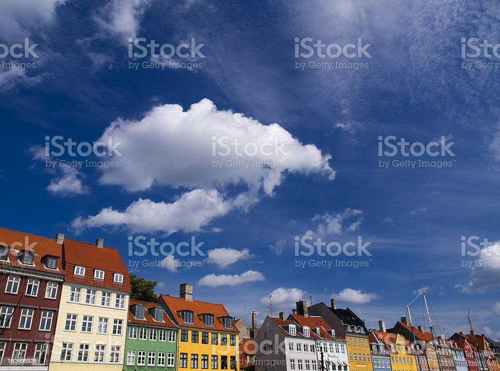Cloudscape and Nyhavn, Copenhagen royalty-free stock photo
