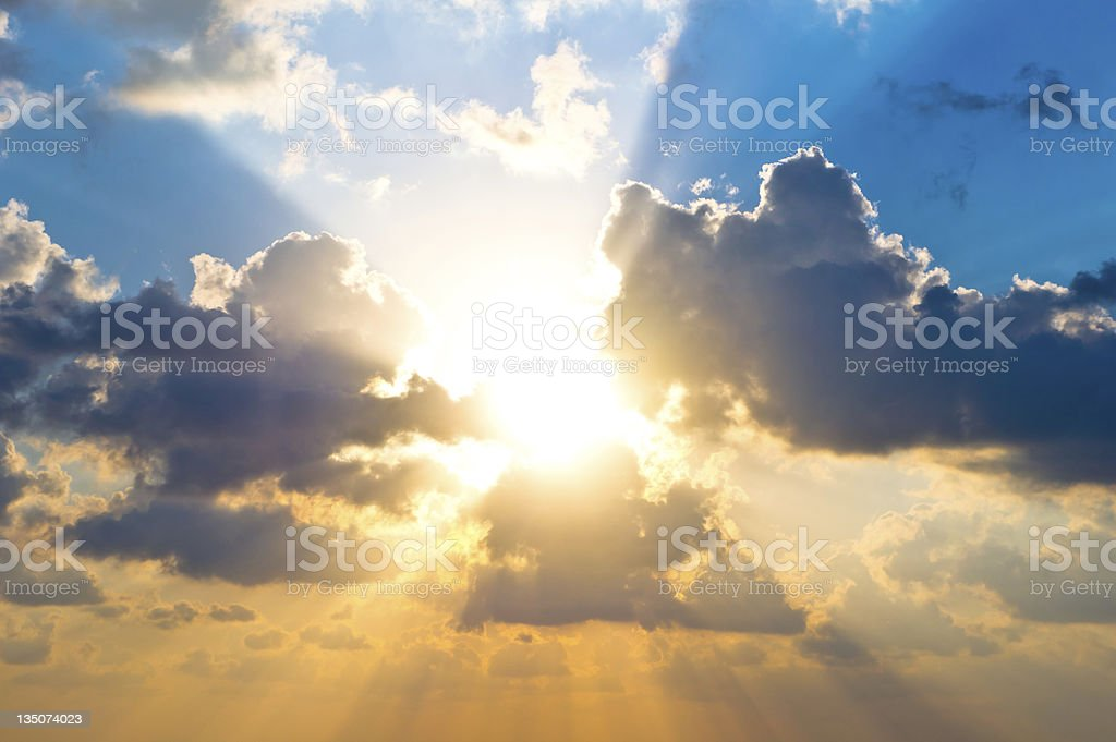 Cloudscape at sunrise stock photo