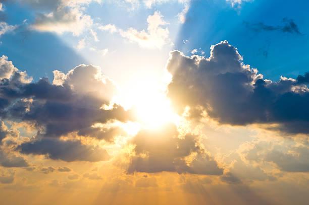 Cloudscape at sunrise stock photo