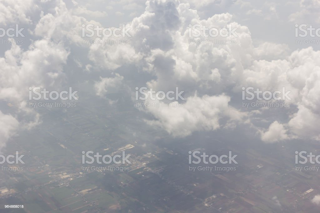 Cloudscape blue sky and white cloud with land royalty-free stock photo