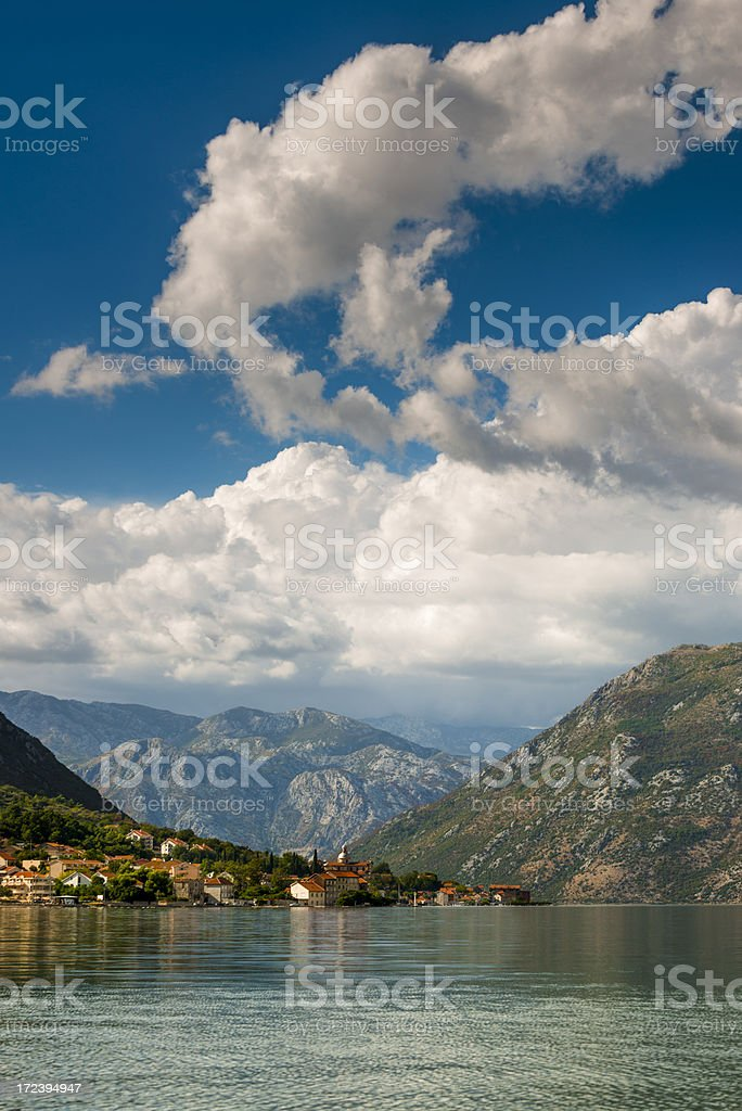 Cloudscape in Bay of Kotor royalty-free stock photo
