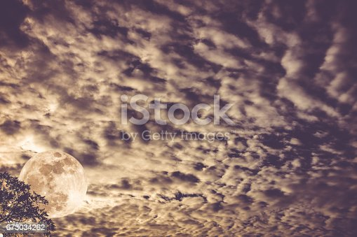 istock Cloudscape. Nightly sky with moon behind tree. Outdoors at nighttime. 673034262