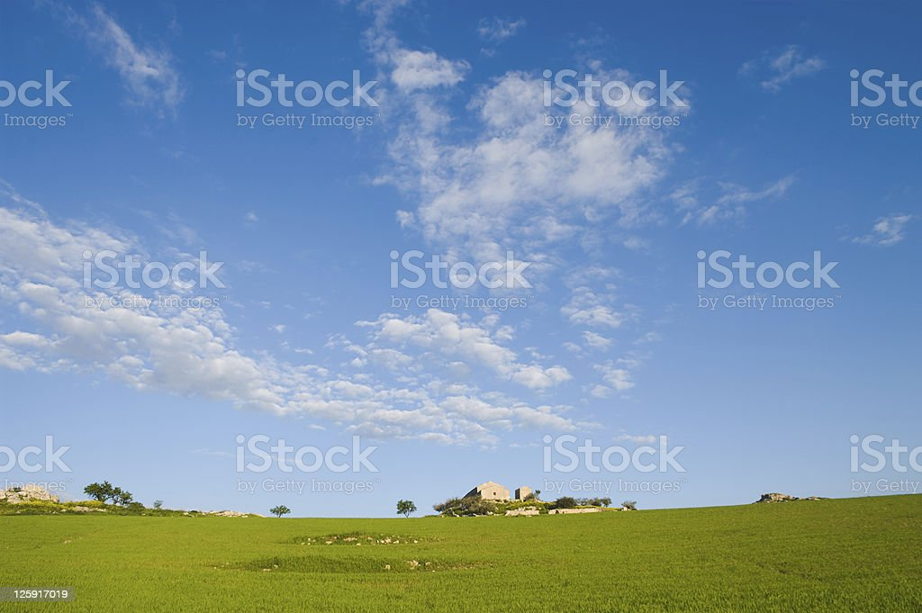cloudscape on large rural scene royalty-free stock photo