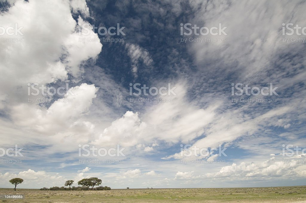 Cloudscape over grasslands stock photo