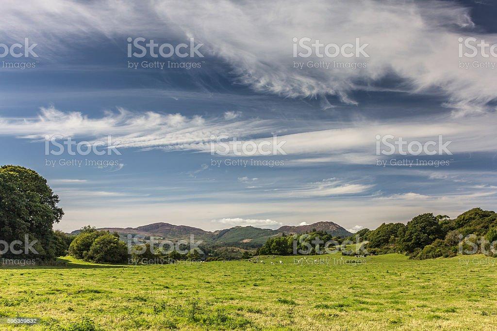 Cloudscape over Green Pasture Field near Auchencairn stock photo