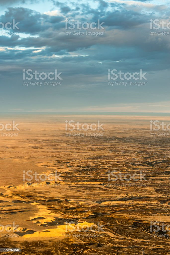 Cloudscape over Lake Eyre (Aerial Photo) stock photo