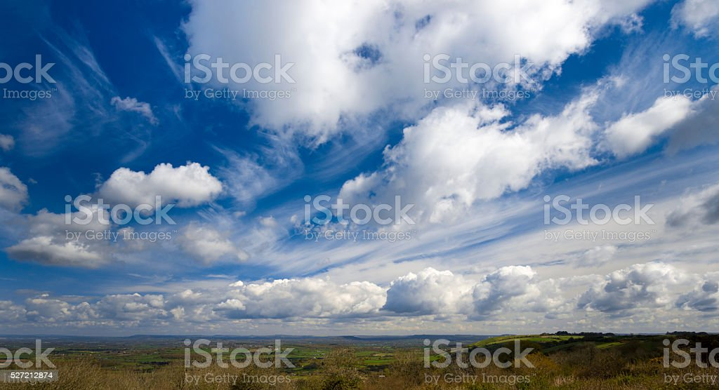 Cloudscape over the Blackmore Vale from Woolland Hill stock photo