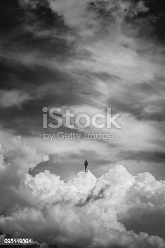 istock Cloudscape photo manipulation, black and white 695449364