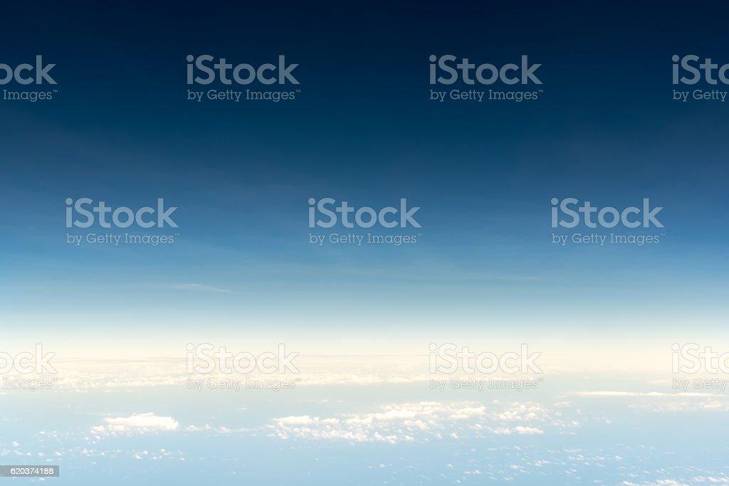 Cloudscape skyline view above white clouds from airplane zbiór zdjęć royalty-free