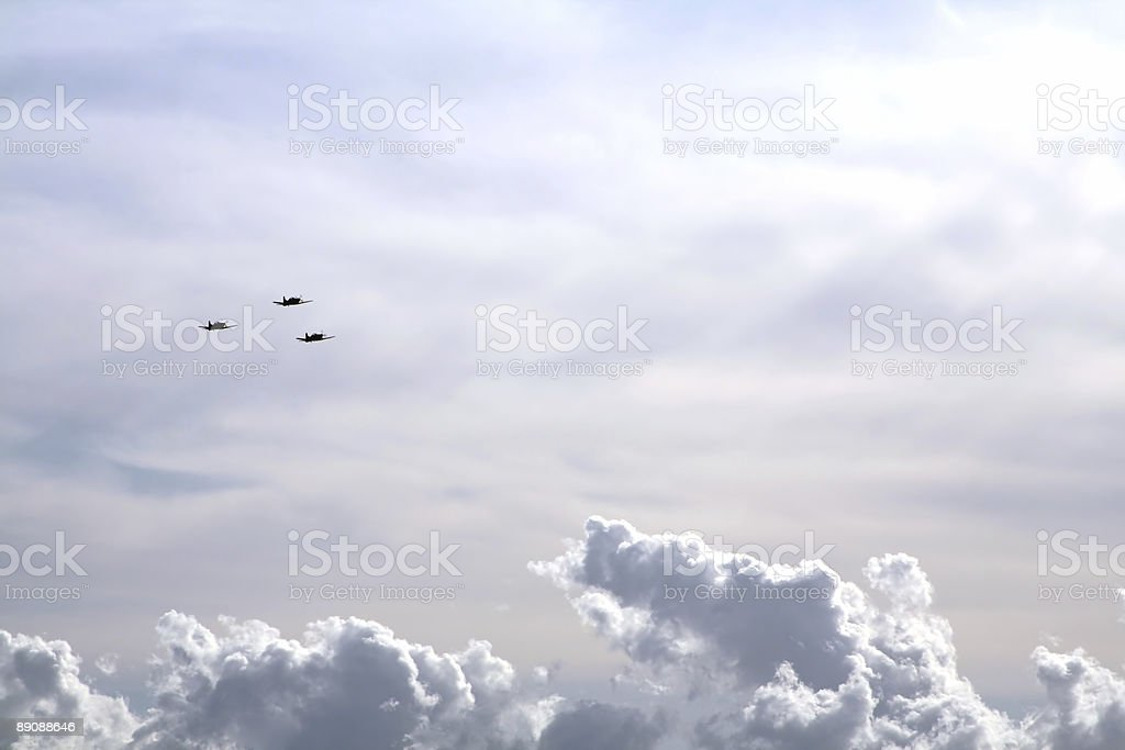 Cloudscape with airplanes royalty-free stock photo
