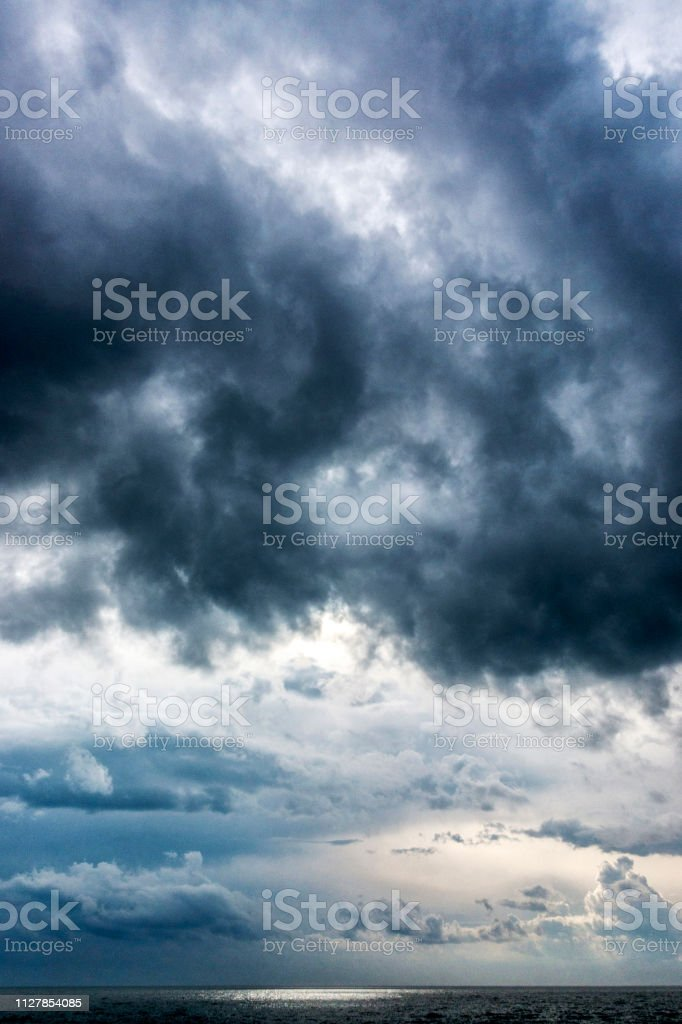 Cloudscape with dramatic sky and sea in Alexandroupolis, Greece.