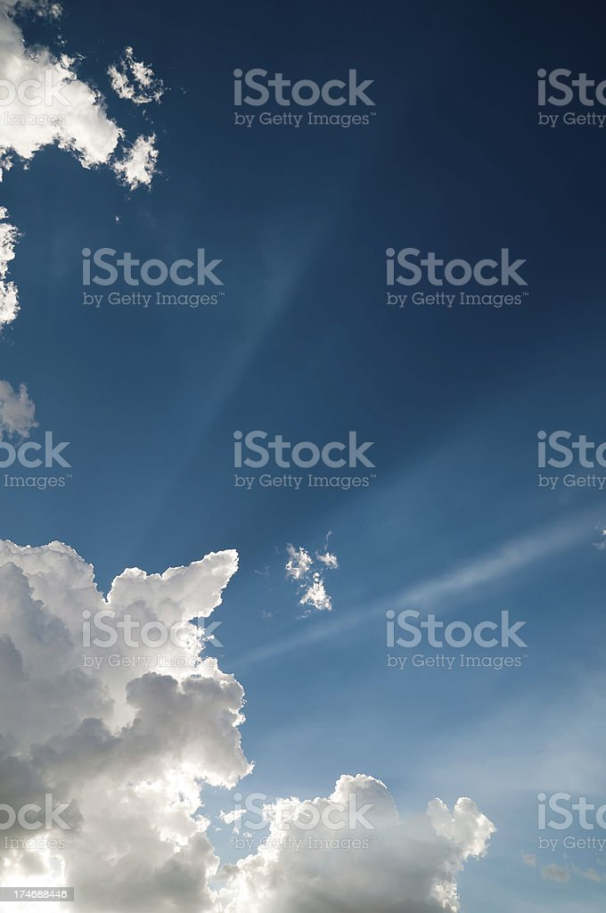 Cloudscape with rays of Sun. royalty-free stock photo