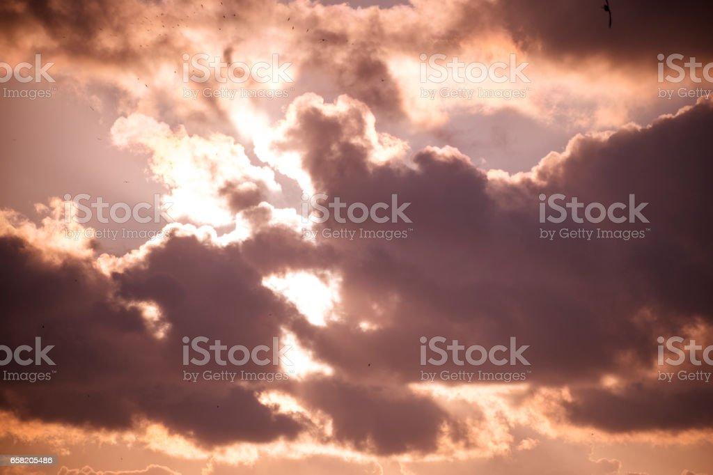 Cloudscape with Sun in the Backgorund stock photo