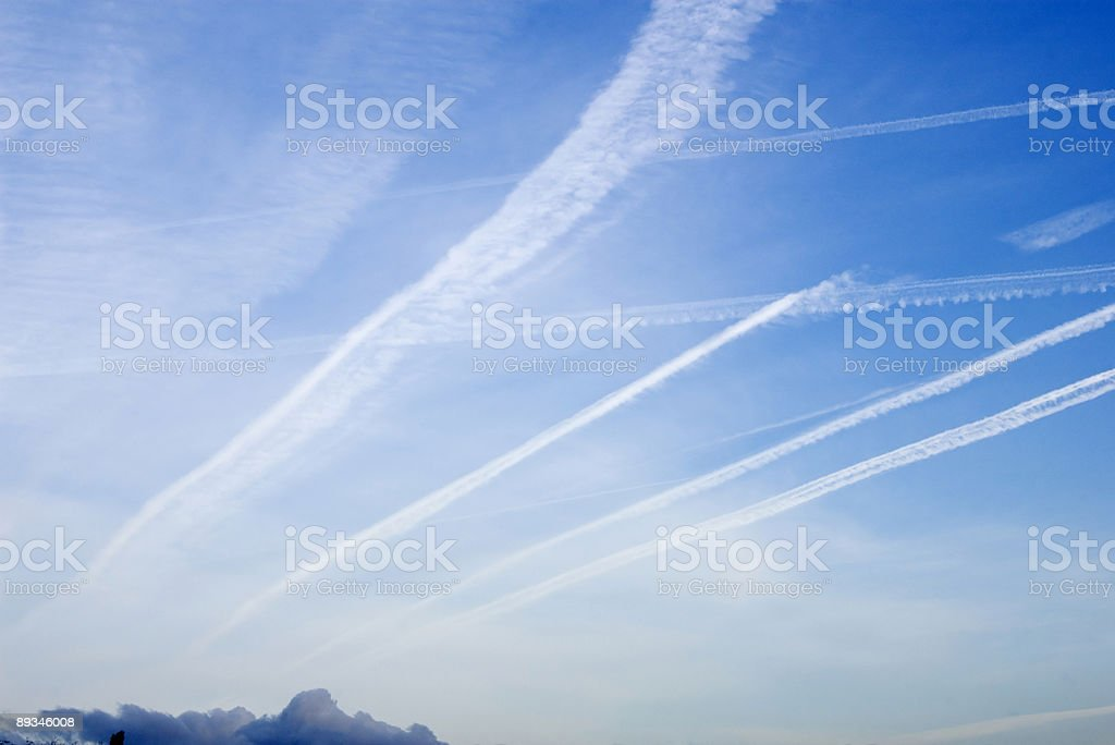 Cloudscapes with Condense Stripes royalty-free stock photo