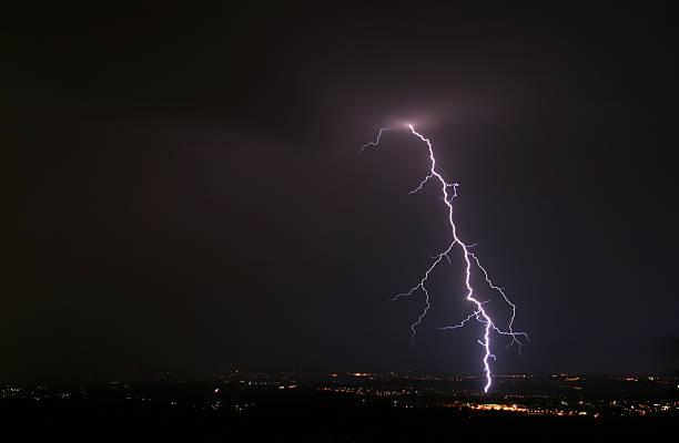 cloud-to-ground lightning stock photo