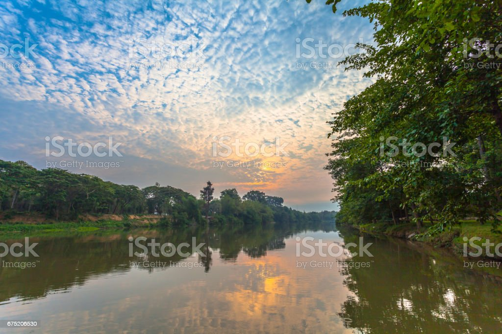cloudy above river in the morning royalty-free stock photo