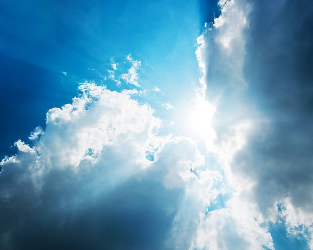 Cloudy and sun sky power of nature stock photo