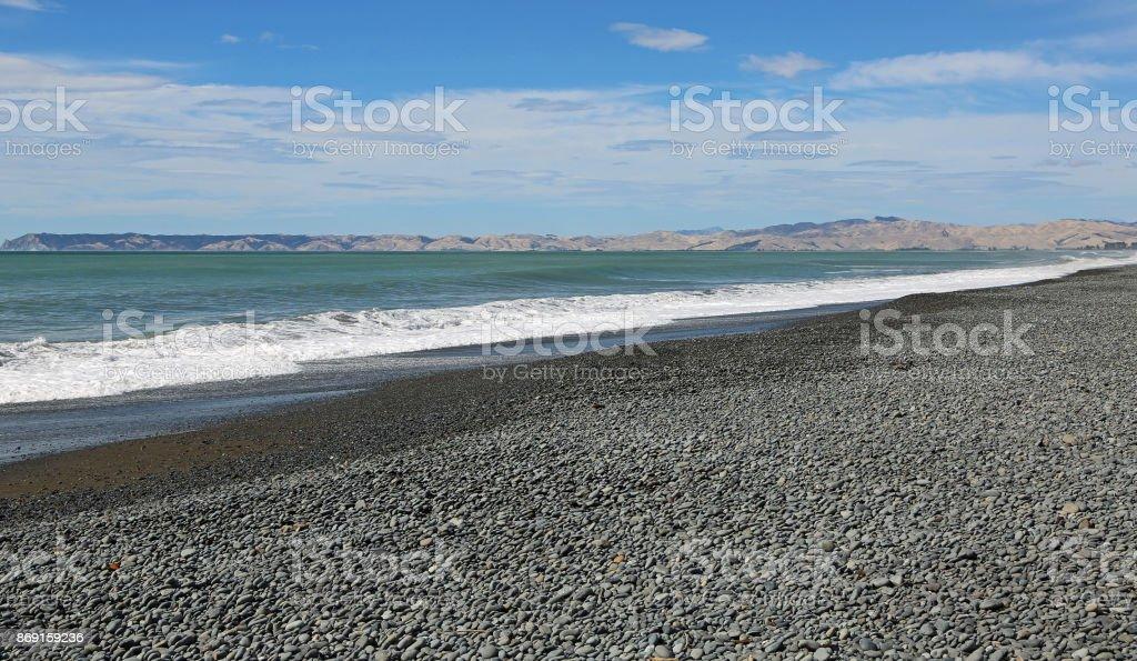 Cloudy Bay Beach stock photo