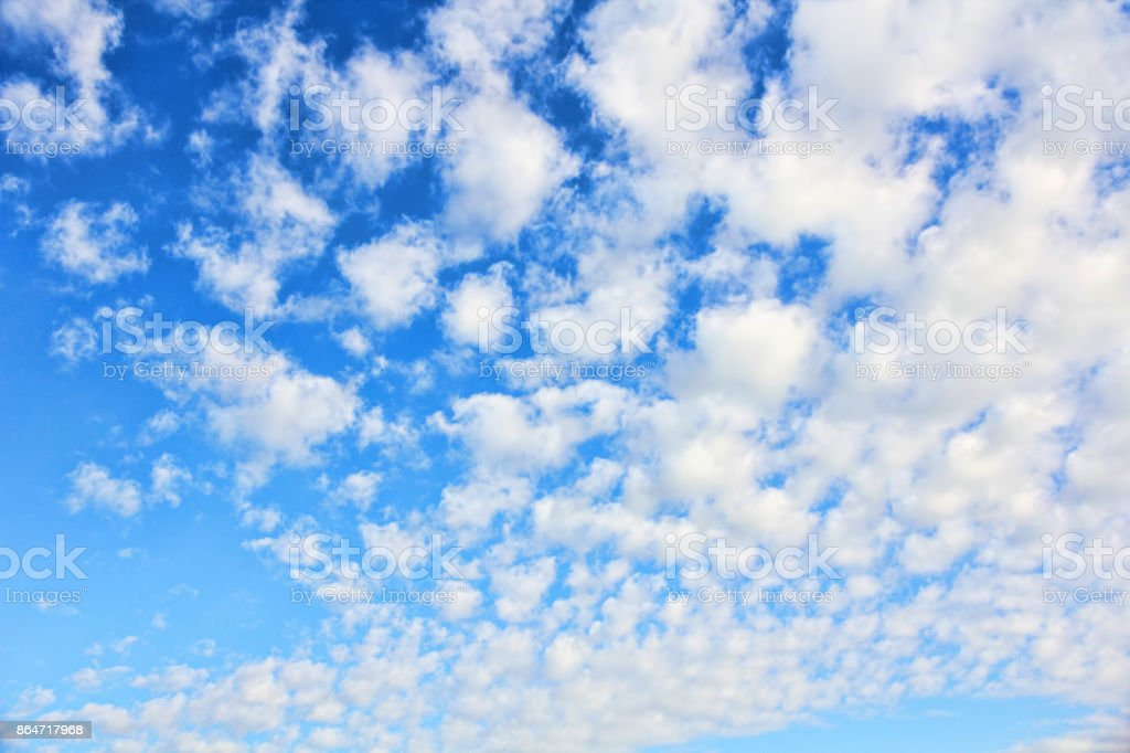 Cloudy blue sky as nature background. stock photo