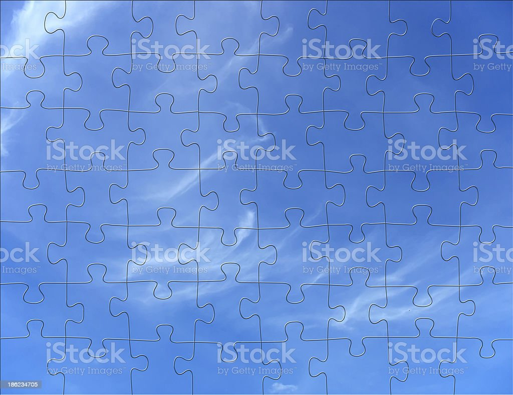 Cloudy blue sky jigsaw puzzle background royalty-free stock photo