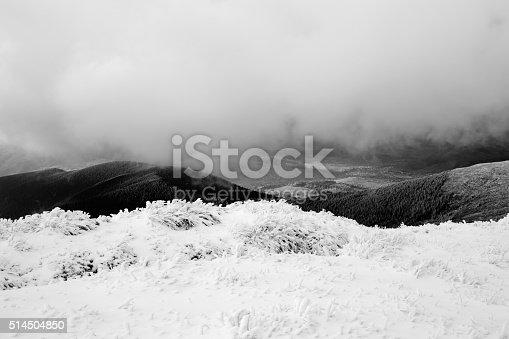 Beautiful landscape of cloudy Carpathian Mountains (B&W)
