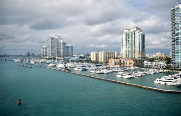 A Cloudy Day at a Miami Harbor stock photo