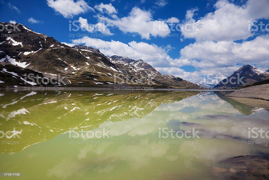 Cloudy day at Bernina Pass royalty-free stock photo