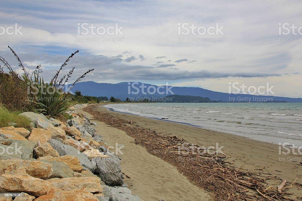 Cloudy day at Pohara Beach, New Zealand stock photo