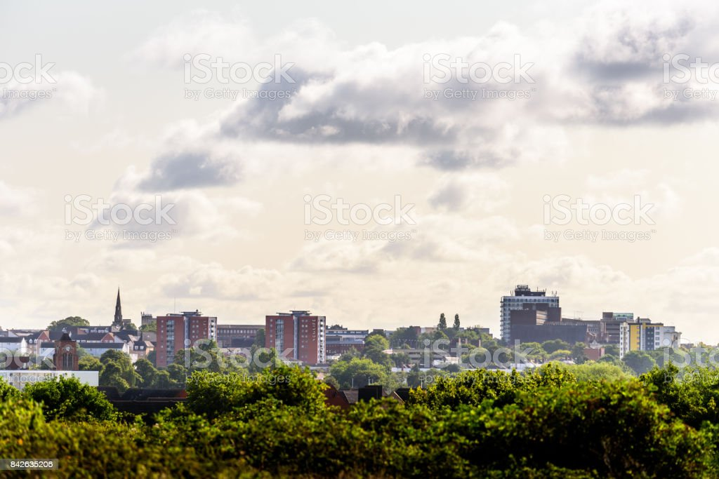 Cloudy Day Cityscape View of Northampton UK stock photo