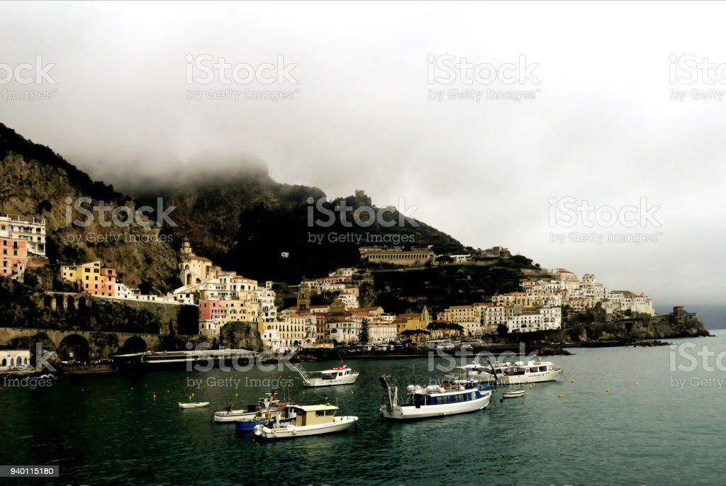 Cloudy day in Amalfi, Italy harbor stock photo