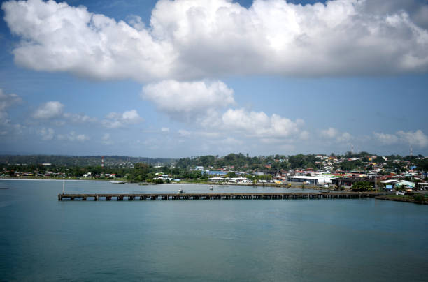 A Cloudy Day in Costa Rica A snapshot of the waterfront at Puerto Limón, Costa Rica. limoen stock pictures, royalty-free photos & images