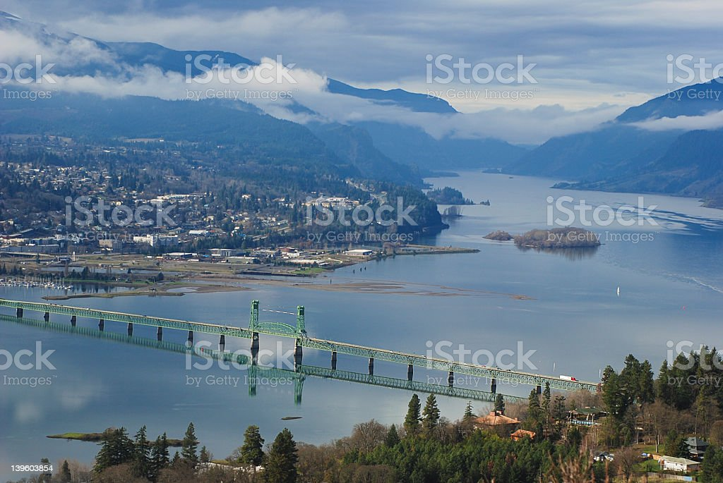Cloudy Day in Hood River, Oregon stock photo