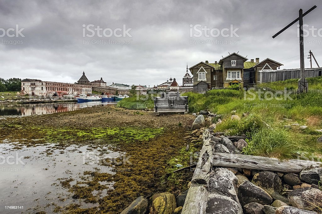Cloudy day in Solovki royalty-free stock photo