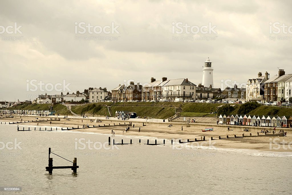 Cloudy day in Southwold stock photo