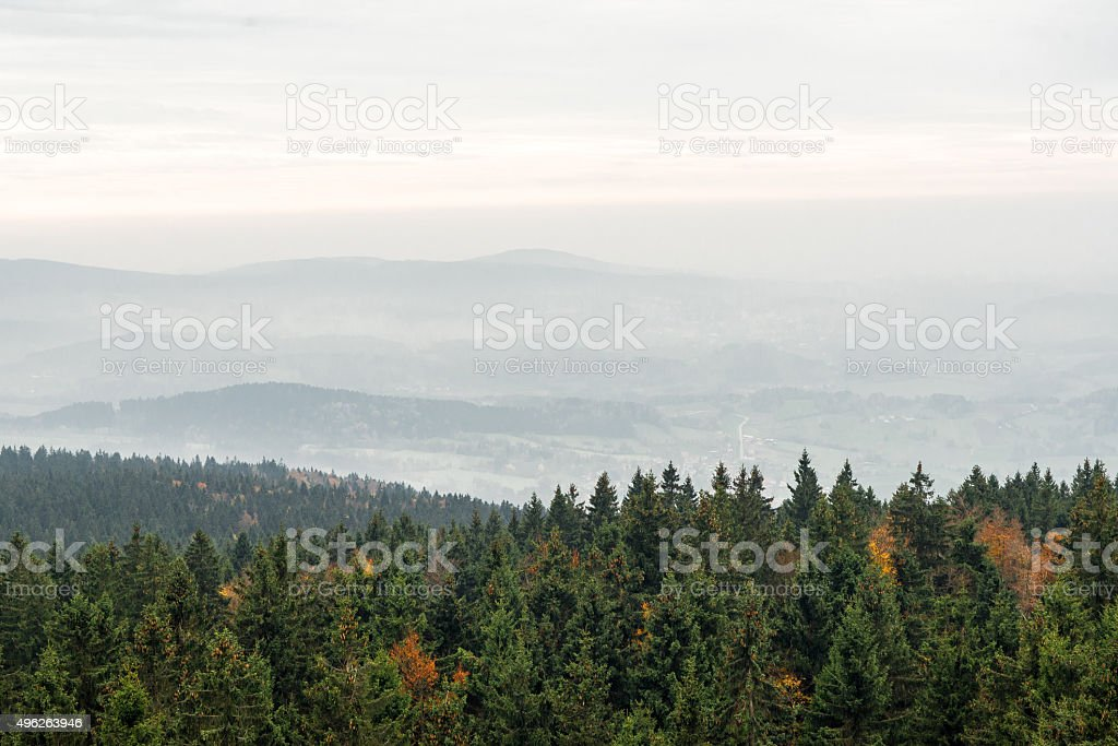 Cloudy days in the bavarian Forest stock photo