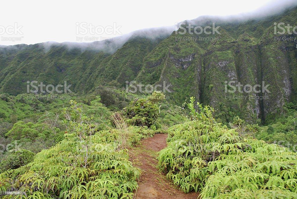 Cloudy Koolau Mountains in Oahu stock photo