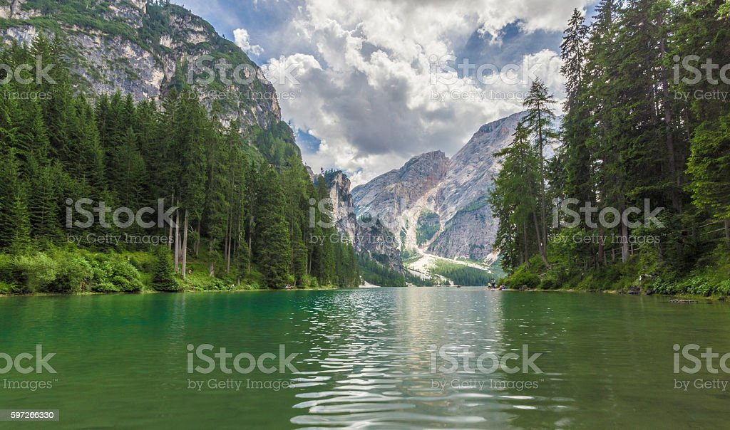 Cloudy landscape at Lake Braies royalty-free stock photo