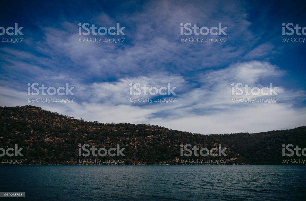 Cloudy Landscape of Hawksebury River, NSW, Australia stock photo