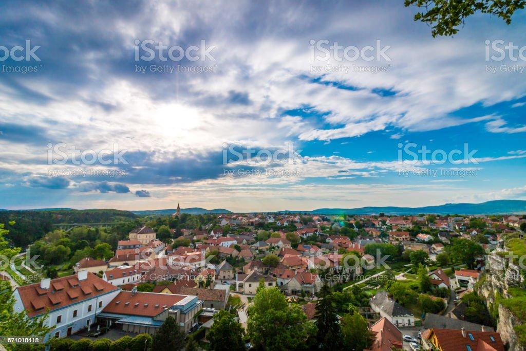 Cloudy landscape of veszprem royalty-free stock photo