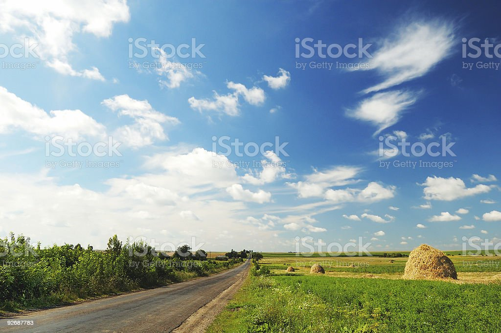 Cloudy landscape with road royalty-free stock photo