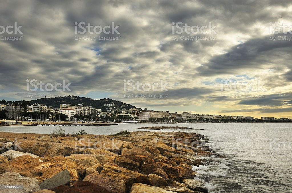 Cloudy morning in Cannes stock photo