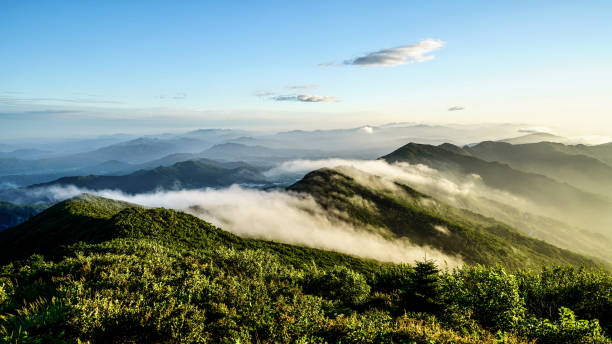VD703 A cloudy morning peak 아침에 구름이 아름답게 깔린 산의 모습 horizontal stock pictures, royalty-free photos & images