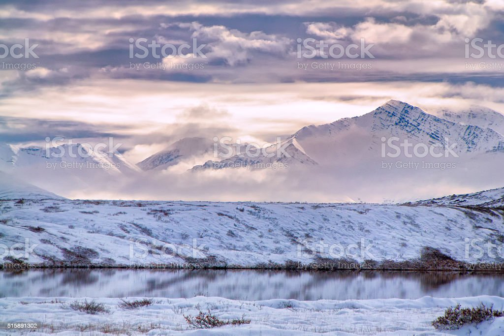 Cloudy mountains in ANWR stock photo